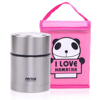 Edelstahl-Thermos Lunch Box Kids School Picknick Metall-Nahrungsmittelbehälter mit Rosa Panda Insulated Carry Mittagessen Tote Bag 550 ml
