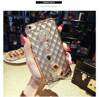 Wholesale Diamond Case For Blackberry - Luxury Diamond Mirror Case For iPhone 6 6s 4.7''  Plus 5.5 Handmade Rhinestone Crystal Soft TPU Frame Cover for iPhone6 s Plus