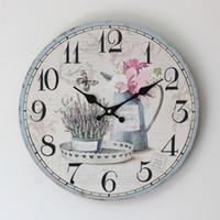 fleur zakka achat en gros de-Gros-Zakka Plank bonne machine Core Electronics couleur dessin fleur art circulaire numérique horloge murale 35 * 35CM
