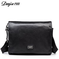 Wholesale Large Brown Leather Laptop Briefcase - DANJUE Fashion Men Business Briefcase Natural Leather Solid Color Brand Handbags Genuine Leather High Quality Men Laptop Bags
