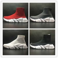 Wholesale Lace Up Flat Booties - 2017 Women's Black Sock Booties,Men and Women's Black Speed Knit Sock High-Top Sneakers, Speed Trainer Sock Race Runners Black sports Shoes