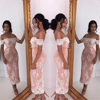 Wholesale Pictures Pretty Black Women - 2017 Pretty Lace Sheath Prom Gowns For Women Off Shoulder Neckline Short Sleeves Tea Length Evening Dresses Party Wear