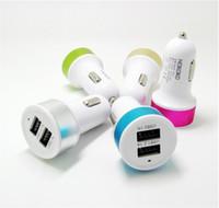 Wholesale Ipad Mini Aluminium - 1000pcs lot aluminium allo Dual USB Car Charger Mini Adapter 12v 2.1A 1.0A Mix Colors for Cell Phone  Ipad   Iphone 5 5S 6 6S 7 7S