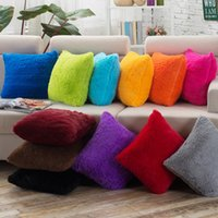Wholesale Very Soft Cushion - Very Soft Warm Plain Faux Fur Mink Cushion Cover Plush Pillow Case Home Sofa Car Decoration 12 colors