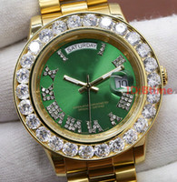 Wholesale pearl watch men online - Green Luxury Brand Gold President Day Date Diamonds Watch Men Stainless Mother of Pearl Dial Diamond Bezel Automatic WristWatch AAA Watches