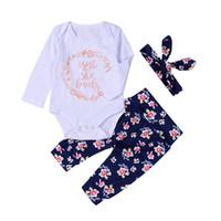 Wholesale Girls Elephant Romper - 2017 Hot Newborn Baby Clothes Suit Lovely Letters Elephant Romper Retro Flower Long Pants Hairband 3pcs Geometirc Butterfly Kids Cotton Sets