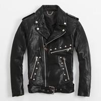 Wholesale Diagonal Zipper Leather Motorcycle Jacket - FREE SHIPPING 2017 New Slim Fit Rivet Leather Jackets For Men Black Turn-down Diagonal Zipper Real Sheepskin Motorcycle Coat