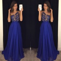 Wholesale Long Delicate Prom Dresses - Delicate Royal Blue Party Dresses Long Evening Gown 2017 A Line One-Shoulder Appliques Prom Party Dress Robe De Soiree Longue