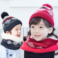 Wholesale Children Fleece Hat Scarf Wholesale - 2016 New Winter Kids Knitting Plaids Warm Hat 2pc sets Pompon knitted hat+imitation wool scarf Children Autumn fleece diamond neck gaiter