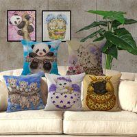 tiger druck kissen fällen großhandel-Niedlichen Tier Panda Katze Tiger One Side Printing Home Decor Sofa Autositz Dekorative Kissenbezug Kissenbezug 240486