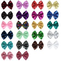 Wholesale Sequins Embroidery For Kids - Baby hair accessory 22 color whitout clip glitter bows for kids embroidery sequins shining bows size 9.5*12CM girls accessories T0074