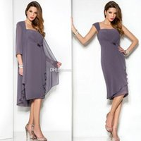 Wholesale Cheap Purple Coats - 2016 New Purple Beach Mother Of The Bride Dresses With Coat Knee Length Chiffon Cheap Mother Dress Wedding Guest Gowns Plus Size Custom