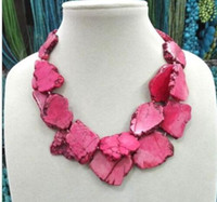 Wholesale pink mother pearl shell - Cute Pink Turquoise Slice Stone Choker Necklace Handmade Woman Gift 2 Layer