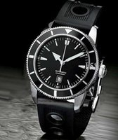 Wholesale Superocean Strap - Free Shipping Superocean Heritage Luxury Brand Mens Watch Mechanical Watches Automatic Black Dial Date Rubber Strap BR066