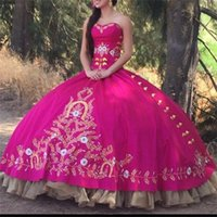 Wholesale Golden Elegant Dresses - Elegant Fuchsia Quinceanera Dresses 2017 Sweetheart Beautiful Golden Embroidery Ball Gowns Prom Dress for Sweet 16 Years CR190