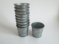 Wholesale Mini Flower Pots Wholesale - Metal cup Galvanized Succulent Pots Cheap Vintage Rustic Nostalgia Mini Garden Silver Cute Tin Planter Mini Galvanized Buckets