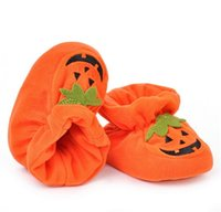 Wholesale Baby Home Shoes - Childrens Shoes Baby Halloween Pumpkin Slipper Infant House Shoes Orange Soft Bottom Baby Shoes At Home