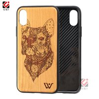 iphone silikon holz fall großhandel-Engrave Wood Phone Case für iPhone X 8+ 7+ 7 8 8plus 7plus Schwarzer TPU-Silikon-Rohling Klare Bambusscheibe mit vollem Schutz