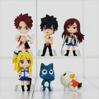 Wholesale Anime Figure Fairy Tail - Anime Fairy Tail Natsu   Gray   Lucy   Erza PVC Action Figure Collectable Model toy for kids gift Free Shipping