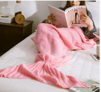 trajes de ar condicionado venda por atacado-Malha Sereia Cauda Cobertor Super Macio Mais Quente Malha Cobertores De Lã Cama Traje A Dormir Ar-Condição Malha Cobertor 70 * 140 cm Presente De Aniversário