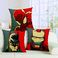 Wholesale Printed Cushions Linen Cotton - 2016 New Batman Pillow Justice League Iron Man pillow Case, Cushions Pillowcase Cushion without filling Pillow Case