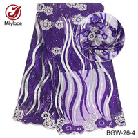 Wholesale Materials Net - New arrival 5 yards per lot African lace fabric with stones multicolor 100%polyester material French net lace fabric fo wedding dress BGW-26