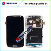 digitalizador telas substituição s4 venda por atacado-Para samsung galaxy s4 i9500 9505 i545 i337 branco e azul toque lcd screen digitalizador + frame substituição com rápido DHL navio