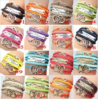 Wholesale One Direction Wrist Bands - charm one direction love bracelet Infinity Braided Mix Colors Leather Bracelets Fashion Wrist bands free shippinng