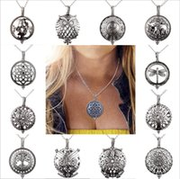 Wholesale Mixing Fragrance Oils - 2017 new Round Essential oil fragrance Cage box Pendant Necklace Mix Design Fashion Hollow out Chain Necklace for women jewelry wholesale