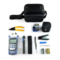 Wholesale Optical Fiber Power Meters - 9 In 1 Fiber Optic FTTH Tool Kit with FC-6S Fiber Cleaver and Optical Power Meter 5km Visual Fault Locator Wire Stripper
