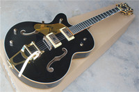 Wholesale Left Handed Jazz Electric Guitar - Left Handed Black Custom Shop Top Quality Falcon 6196T-59 Hollow Body 6120 Jazz Electric Guitar Golden Hardware Binding Free Shipping