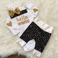 Wholesale Leggings Tight Suit - Baby Girls Boys Clothing Sets Infant Newborn 3PCS Suit Tops Pants Hat Boys Girls Leggings Tights Sweatshirt Pants Kids Clothes Wholesale 261
