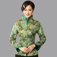 çince tarzı aydınlatma toptan satış-Toptan Satış - Açık Yeşil Geleneksel Çin tarzı kadın V Yaka Ceket Kaban Çiçekler Mujeres Chaqueta Boyut Sml XL XXL XXXL Mny08-B