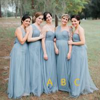Wholesale One Shoulder Fancy Dress - Grey Tulle Bridesmaid Dresses One Shoulder Fancy country Wedding Guest Gowns La dama de honor Special Occasion Dresses