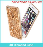 Wholesale Iphone Rubber Shell Case - 3D Diamond Glitter Crystal Case for iPhone 6s 4.7 5.5 Plus Star Brignt Case Luxury Shiny Soft Protective Shell TPU Case Rubber Cover