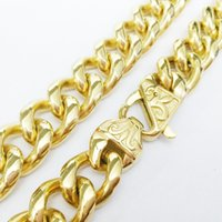 Wholesale Huge Vintage Jewelry - Huge Heavy New 316L Stainless Steel Mens 15mm 18K Gold Plated Curb Link Chain With Vintage Clasp Necklace Jewelry 23.6""