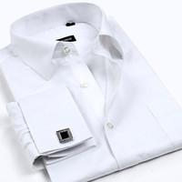 Wholesale Men S Linen Dress Shirts - Wholesale-Men Dress Shirts with Diamond Cufflinks Cotton Shirt for Men Long Sleeve Plaid  Strpped Shirs Men Clothing S- 4XL
