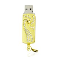 Wholesale 16 Gb Flash Drives - HanDisk Golden Shadow Metal Diamond Flash Drive 128MB 1 2 4 16 32 64 128gb Usb Pen Drive Portable Hard Drive Memory stick EU051