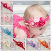 Wholesale Elastic Kids Tie - Ribbon Diy Hair Bows Rose Hairbands 14 Styles Elastic Boutique Hair Bows Kids Hair Tie Accessories Satin Diamond Pearl Headbands For Babies