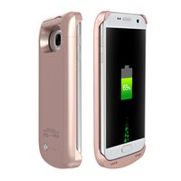 Wholesale black docking station - 2016 New wireless dock charger station 5200 mAh backup battery case powerbank with kickstand for Samsung galaxy S7 edge