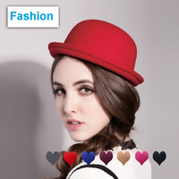 Wholesale Girls Winter Hats Cat - Vintage Girls top fashion Fascinator Bowknot Floppy Stingy Brim Hats Cute Cats Caps Blend Felt Trilby Bowler Hat Christmas gift