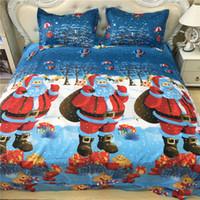 Wholesale Christmas Comforters Blue - 2017 New Fashion Blue Christmas Pattern 3D Bedding Set Home Textiles Twin Queen King Size Bed Sheets Quilt Pillow Case Wholesale 4PCS