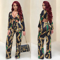 Wholesale Silk Neck Ties Xl - 2017 Fashion Designed African Women 2 Piece Set Bow Tie Crop Top And Pants Suit Sexy V Neck Long Sleeve Print Casual 2 Pcs Set Yellow Black