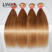24 inç sarışın saç örgüsü toptan satış-Bal Sarışın Brezilyalı İnsan Saç Dokuma Paketler Renk 27 # Perulu Malezya Hint Avrasya Rus Ipeksi Düz Remy Saç Uzantıları