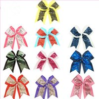 Wholesale Blue Cheer Bows - Girls sequins cheer bow hairpins 10 colors cute splicing color sequin big bow barrettes 9inch kids princess headwear
