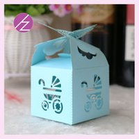 Wholesale 1st Birthday Party Favors - Wholesale- 50Pcs 1st birthday party decoration Paper Candy Box Birthday Party Supplies Decorations baby shower baptism Favors Bag Gift