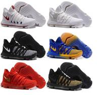 Wholesale Kd Basketball Shoes Blue - Zoom KD 10 Basketball Shoes Men Men's Homme Blue Tennis BHM Kevin Durant 10 X 9 Elite Floral Aunt Pearls Easter Sport Shoes