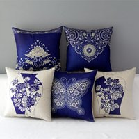Wholesale pillows blue chinese print for sale - Group buy 45cm Boho Blue Chinese Flowers Cotton Linen Fabric Throw Pillow inch Handmade New Home Office Bedroom Decoration Sofa Back Cushion