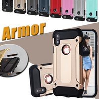 Wholesale Silicone Rubber Iphone Robot - Steel Armor Dual Layer Shockproof Defender Robot Hybrid PC+Silicone Rubber Cover Case For iPhone X 8 7 Plus 6S Samsung S8 S7 edge Note 8