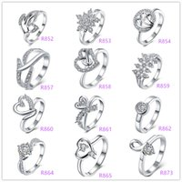 Wholesale Multi Deals - Deals Lady Fashion 925 sterling Silver Multi Charms Heart Rhinestone Dazzling zircon crystal female rings wedding ring Good Gift Size 7 & 8